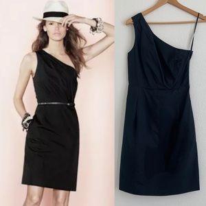 J Crew Bridget poplin black one shoulder dress - 2